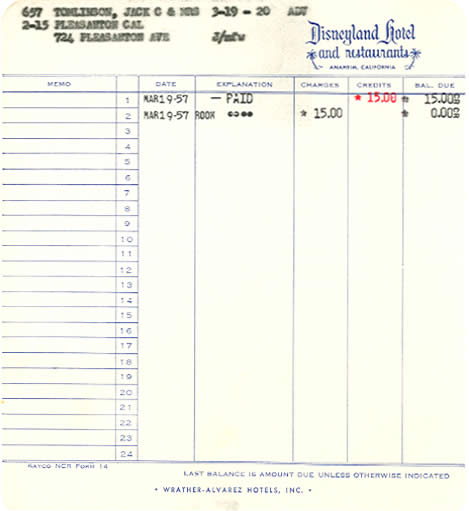 Hotel receipt from 1957