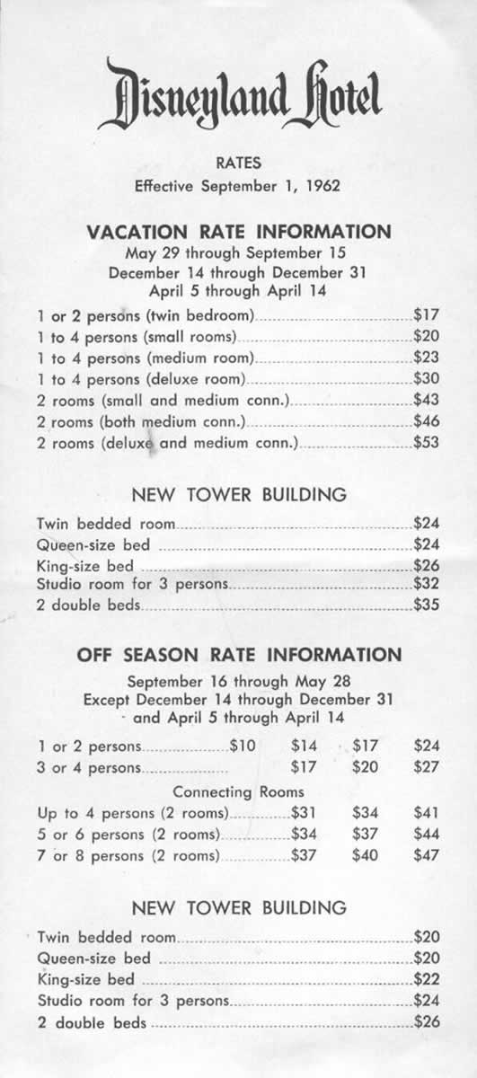 Disneyland hotel prices in 1962 in General Discussion Forum: http://jjb.yuku.com/topic/692536/Disneyland-hotel-prices-in-1962